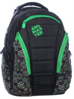 Studentský batoh BAG 0215 D BLACK/GREEN